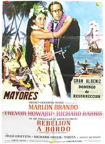 MUTINY ON BOUNTY Spanish 1 sheet 28X40
