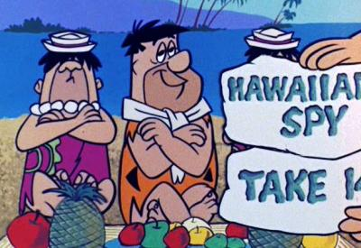 "FLINTSTONE ""Hawaiian Escape"" Fred shoots a TV luau"