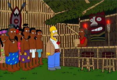 Missionary Impossible Homer introduces the Tiki bar to natives and converts them to drinking