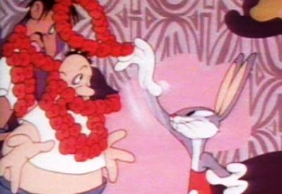 WACKIKI RABBIT Bugs in lei greeting scene